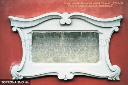 Zrínyi Miklós soproni látogatásának emléket állító tábla