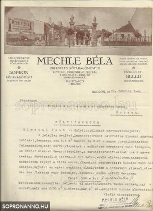 Mechle Béla levele Füredi Oszkárnak