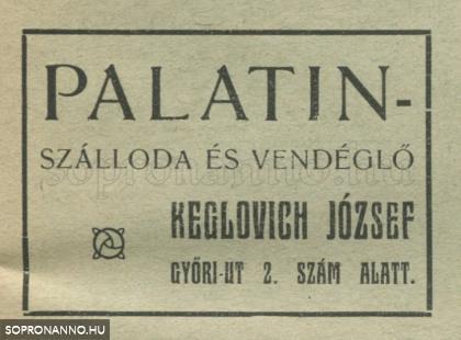 A Palatinus szálloda és vendéglő reklámja