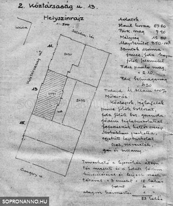 Az Erzsébet - Köztársaság - utca 13. átépítésének terve