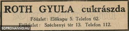 Roth Gyula cukrászatainak reklámja