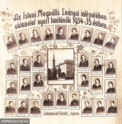 Az Isteni Megváltó Leányai Intézetében oklevelet nyert tanítónők 1934-35. évben