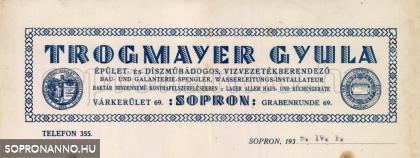 Trogmayer Gyula céges levélpapírjának fejléce