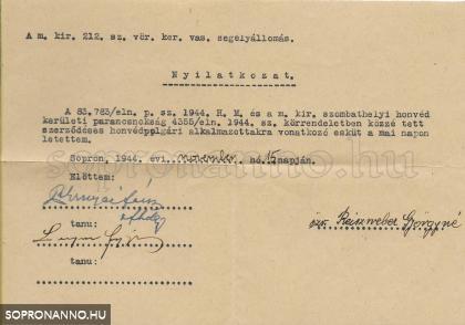 Vöröskeresztes eskü igazolása /1944/