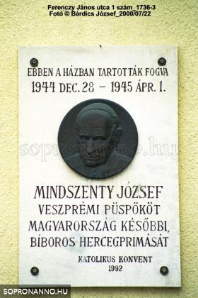 Mindszenty József emléktáblája