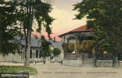 Erzsébet-kerti részlet a vendéglővel és a zenepavilonnal