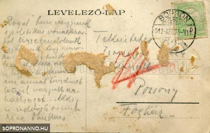 A képeslap hátoldala