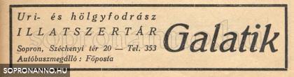 Galatik Mátyás hirdetése 1941-ből