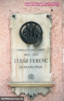Lehár Ferenc emléktáblája
