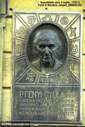 P. Fényi Gyula emléktáblája