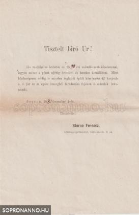 id. Storno Ferenc kísérőlevele