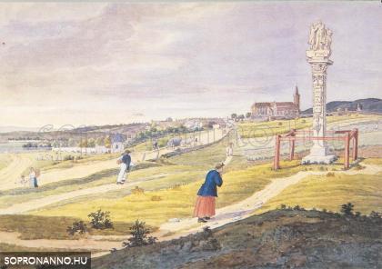 Pestis-oszlop a Szent Mihály-kapu előtt