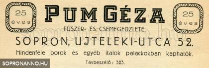 Pum Géza kereskedésének reklámja
