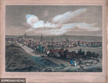 Sopron látképe színesben a 19. század közepén