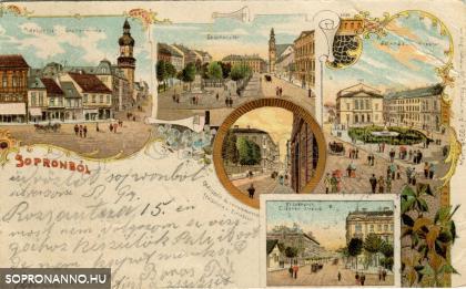 Színes litográfia Sopronból