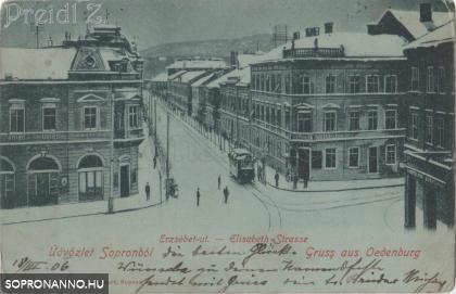 Téli hangulatkép az Erzsébet utca - Széchenyi tér találkozásánál
