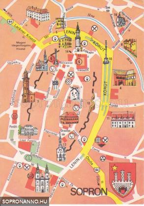 Térképes képeslapok Sopronról