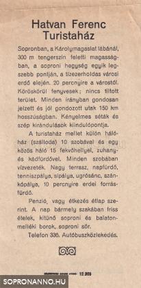 A Hatvan Ferenc Turistaház vendégcsalogatója
