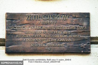 Zettl Gusztáv (1852-1917) emléktáblája