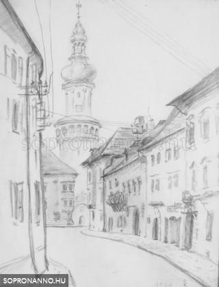 A soproni Tűztorony. Ceruza, szignált, datált, 1929, 21x27 cm.