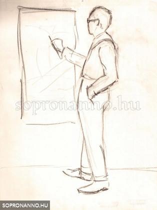 Munka a soproni művésztelepen. Szignált. Ceruza. 1929,  28x21 cm.