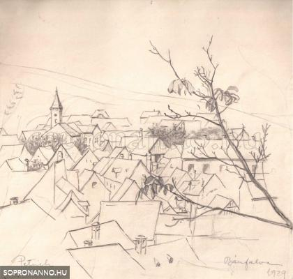 Bánfalva. Szignált, datált. Ceruza. 1929, 19,5x20,5 cm.