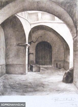 Soproni udvar. Szignált. Kréta. 1929, 27x22 cm.