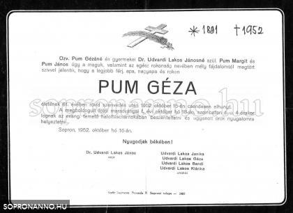 Pum Géza gyászjelentése