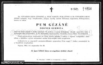 Pum Gézáné Bogner Hermina gyászjelentése