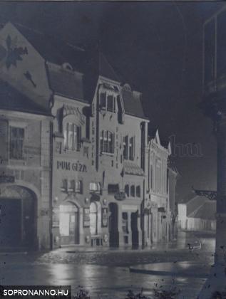 Az Újteleki utcai üzlet éjjel (Csík Ferenc felvétele)