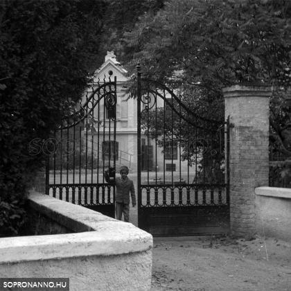 1962. szeptember 2-án érkeztem meg Sopronba, az Állami Általános Erdei Gyógyiskolába. Az iskola kapujában.