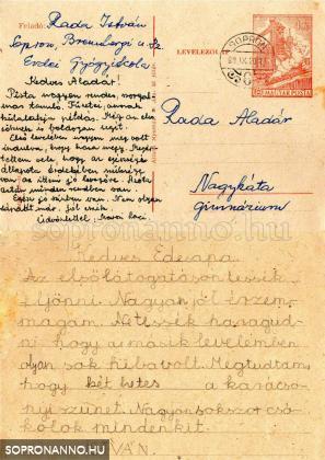 A második haza írott levelezőlap. Marosi Laci bácsi szüleimnek szóló üzenetével.