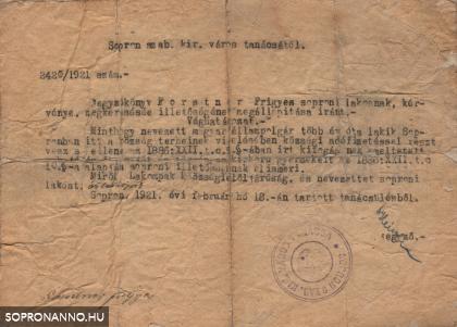 Jegyzőkönyv soproni illetőségről