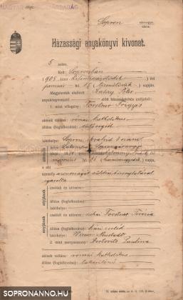 Házassági anyakönyvi kivonat 1. oldala
