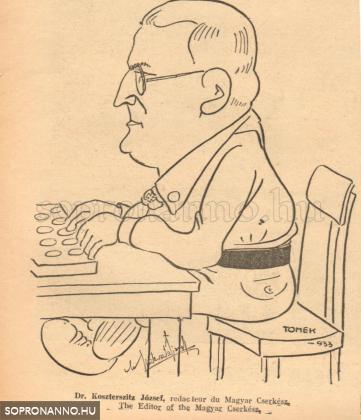 Karikatúra Koszter atyáról 1933-ból