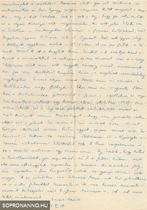 Dr. Csatkai Endre kézzel írott levele 1959-ből