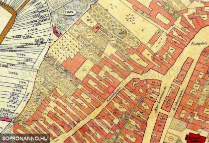 1870-es, régi kataszteri térkép részlet