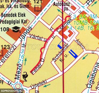 Az Újteleki utca és környéke a 2012-ben kiadott várostérképen