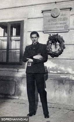 Ostoros György Mátyás király emléktáblája előtt