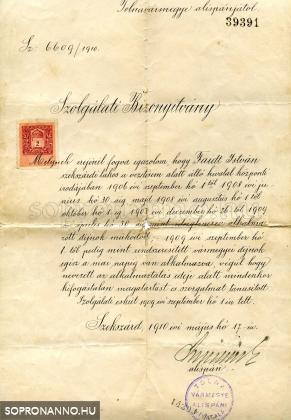 Nagyítható kép: Fájth István szolgálati bizonyítványa, 1910