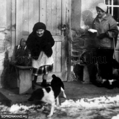 Ilonka néni és Pöttyös kutyus. Molnár Tibor felvétele, 1981. december 27.