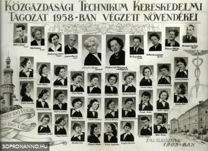 1958-ban végzett osztály tablója