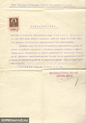 Horváth József ajánlólevele