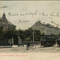 A Kossuth Lajos utca egy részlete villamosokkal