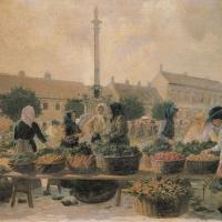 Kokál Károly: Piactér a Várkerületen című vászonra festett olajfestményének képeslap változatáról készült digitális kép. Az eredeti olajfestmény a Soproni Múzeum tulajdonában van.  (A színes képeslap Tarcsai Mária tulajdona)