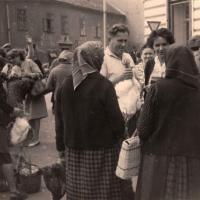 Baromfi és aprójószág piac a Major közben az 1960-as évek első felében. (Az eredeti kép tulajdonosa Berényi Margit, fotós ismeretlen.)