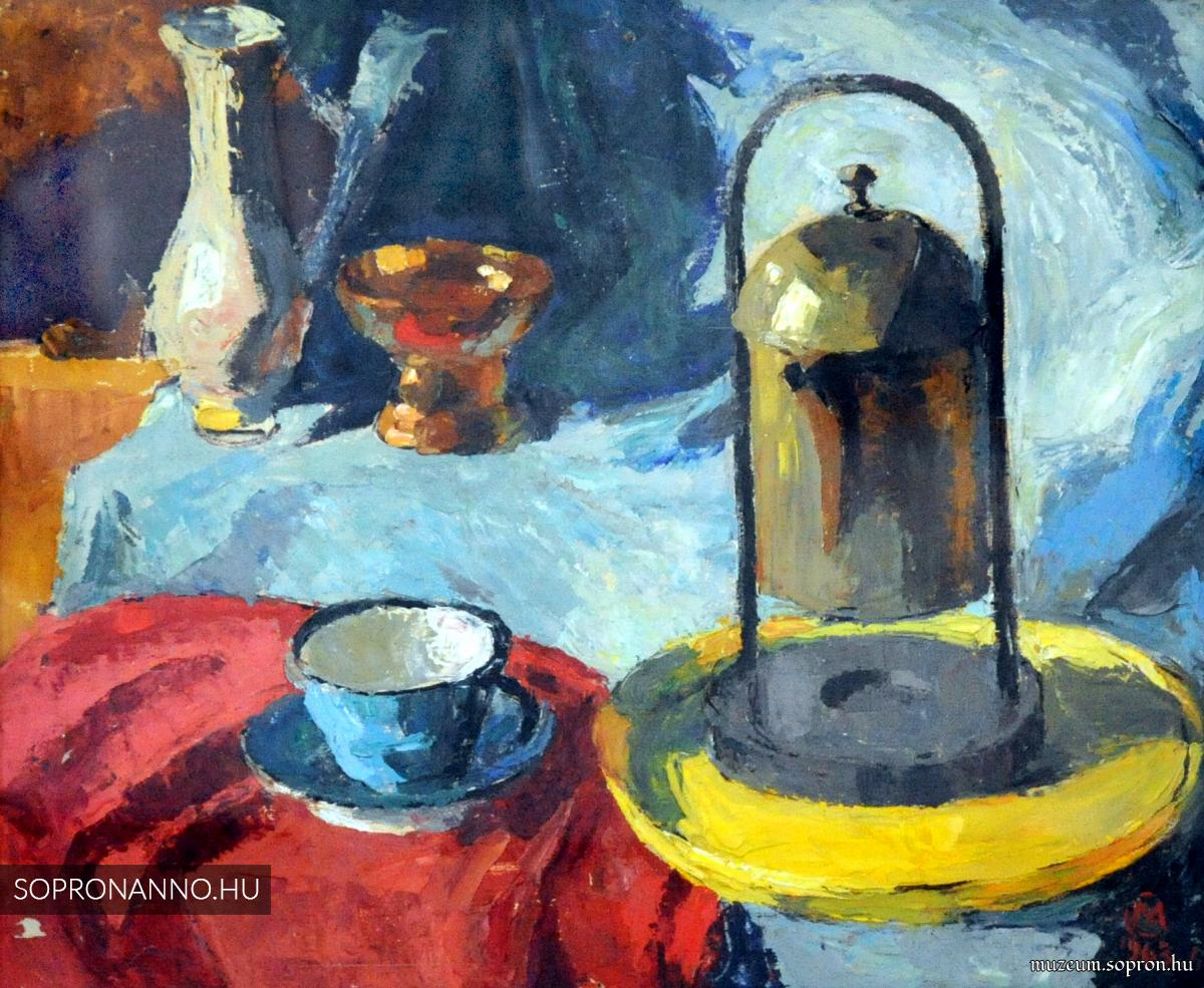 Mende Gusztáv: Csendélet réz kávéfőzővel