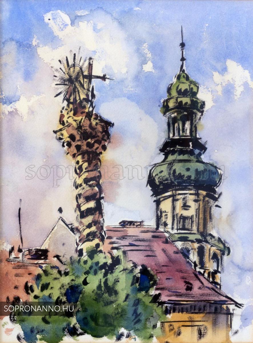 A Szentháromság-szobor a Várostoronnyal